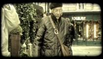 People walk on Vienna street. Vintage stylized video clip.