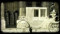 Horese-drawn carriage. Vintage stylized video clip.