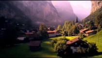 Paning shot of Lauterbrunnen, Switzerland at dawn