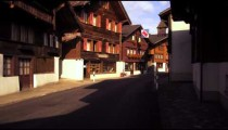 Tracking shot of a street in Switzerland