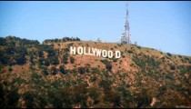 Long distance static shot of the Hollywood sign