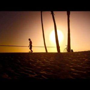 Lens flare shot of man walking beside slackline near Venice Beach, California