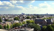 Time-lapse shot from tower overlooking rooftops in Amsterdam