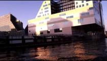 Shot of contemporary buildings along Amsterdam shoreline