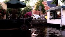 Houseboats on the river in Amsterdam