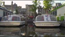 Shot of marina for sightseeing ferry boats in Amsterdam