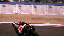 Slow motion shot of motorcycle racers on the race track