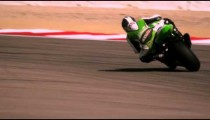 Slow motion footage of motorcycle race