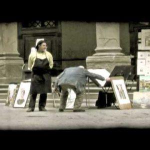 Two men talking. Vintage stylized video clip.