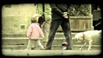 Little girl playing 2. Vintage stylized video clip.