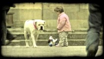 Little girl playing 1. Vintage stylized video clip.