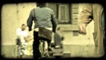 Woman riding bicycle 2. Vintage stylized video clip.