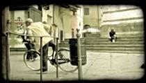 People walking 2. Vintage stylized video clip.