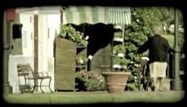 Woman walking 2. Vintage stylized video clip.