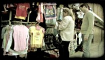 Woman and man shopping. Vintage stylized video clip.