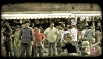 People in plaza. Vintage stylized video clip.