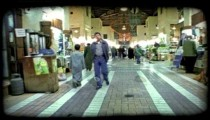 People in marketplace 1. Vintage stylized video clip.