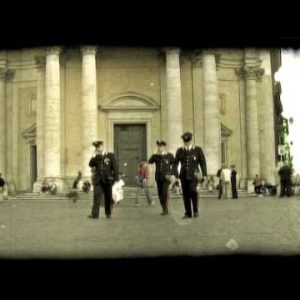 Foreign police in plaza. Vintage stylized video clip.