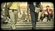 People walk through plaza 7. Vintage stylized video clip.