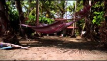 Tracking footage of an empty hammock and a house