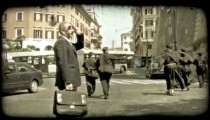 Religious men walking 2. Vintage stylized video clip.