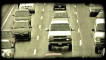 Cars in traffic 1. Vintage stylized video clip.