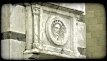 Static shot of a bust of a man in Italy. Vintage stylized video clip.