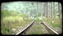Railroad Tracks. Vintage stylized video clip.