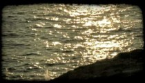 Ocean Sunset 2. Vintage stylized video clip.