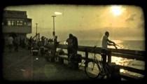 Dock at dusk 3. Vintage stylized video clip.