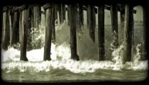 Waves crash 1. Vintage stylized video clip.