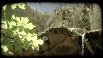 Waterfall in Zions 3. Vintage stylized video clip.