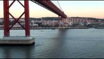 Lisbon Golden Gate Bridge under zoom POV