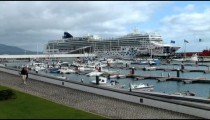 Cruise Ship in Port zoom pan