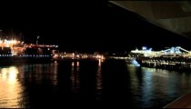 Cruise Ship Balcony Port of Malaga Night pan zoom