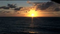 Cruise Ship Balcony Sunset zooms POV