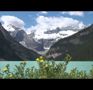 Lake Louise Flowers Mountain Boat zooms