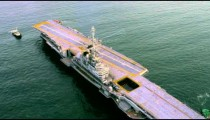 Aerial view of aircraft carrier.
