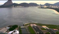 Aerial shot of airplane taxiing - Rio de Janeiro, Brazil.