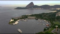 Aerial footage of marina and ocean - Rio de Janeiro, Brazil.