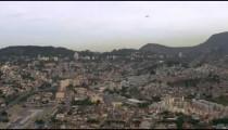 Aerial shot of airplane and cityscape - Rio de Janeiro, Brazil.