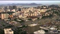 Aerial mapping shot of Rio de Janeiro, Brazil.