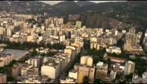 Aerial footage of Rio de Janeiro highrise buildings.