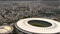Aerial view of Rio de Janeiro, Mountains, and World Cup Stadium - Brazil.