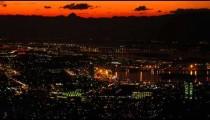 Static shot of Rio de Janeiro's cityscape at night