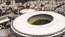 Aerial footage of Rio de Janeiro and World Cup Stadium.