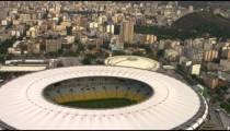Aerial vertical pan of Rio de Janeiro and Maracan