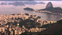 High defintion aerial pan of Rio de Janeiro's cityscape and landscape.