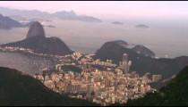 Aerial shot of Rio de Janeiro and the Atlantic Ocean in high defintion.