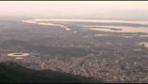 Aerial sunset shot of Rio de Janeiro and Stadium.